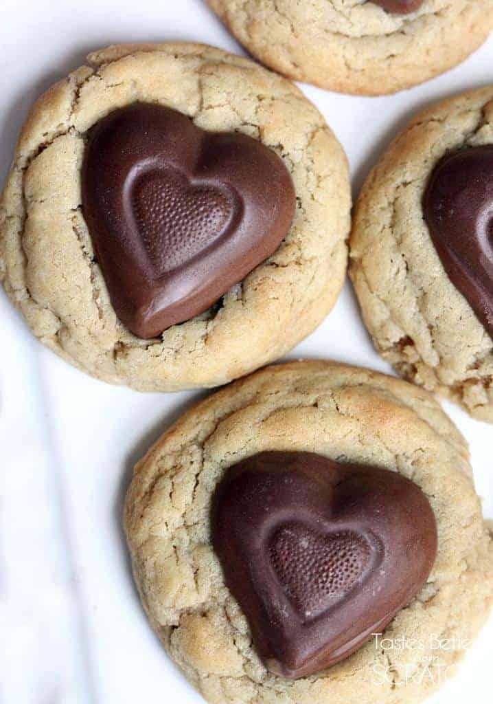 Peanut Butter Heart Cookies on TastesBetterFromScratch.com