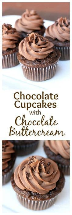 Chocolate cupcakes with a sweet and delicious chocolate buttercream frosting and a short video tutorial on how to frost cupcakes like a pro!  | tastesbetterfromscratch.com  #desserts #sweets #fromscratch