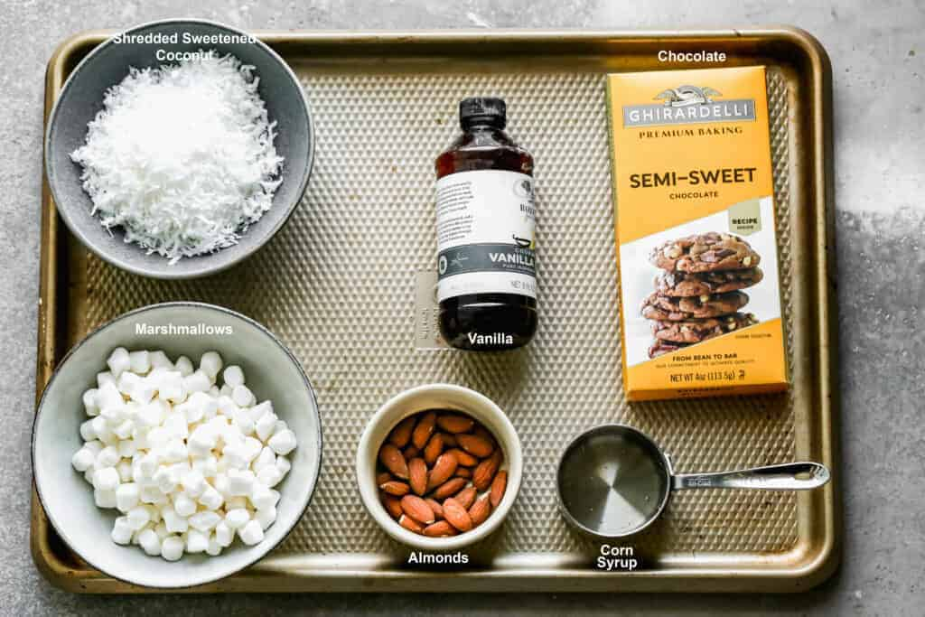 The ingredients needed to make Almond Joys.