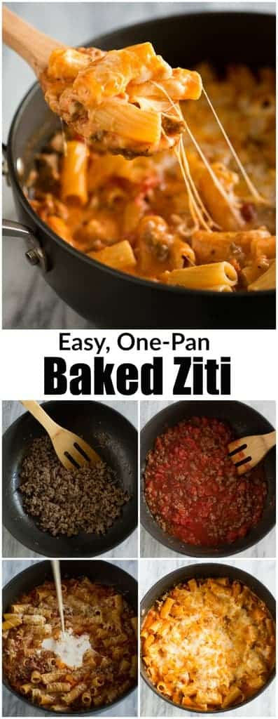 My family LOVES this easy and delicious Baked Ziti recipe, and I love that it's made all in just one pan! It's as fast and delicious as comfort food gets and ready in less than 30 minutes!  | tastesbetterfromscratch.com  #easyrecipes #comfortfood #pastadish #withitaliansausage #bakedziti #pasta #cheese