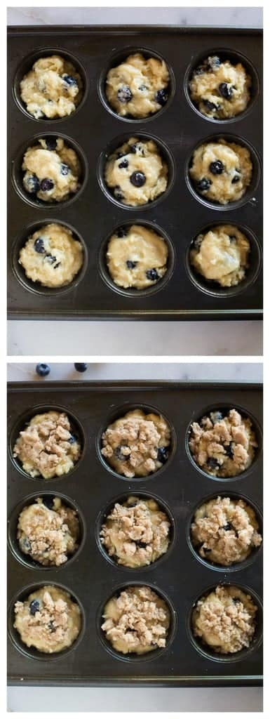 Muffin tin filled with the batter for blueberries muffins and then the muffins topping.
