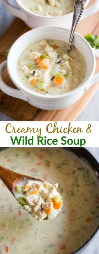 Chicken and Wild Rice Soup, made with carrots, celery, chicken, and wild rice in a creamy and flavorful broth. Make it in the slow cooker or on the stove. #chickenandwildricesoup #easy #recipe #slowcooker #vegetables #creamy #tastesbetterfromscratch #soup #best #kidfriendly #chicken
