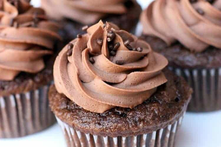 Chocolate Cupcakes with Chocolate Buttercream Frosting on TastesBetterFromScratch.com