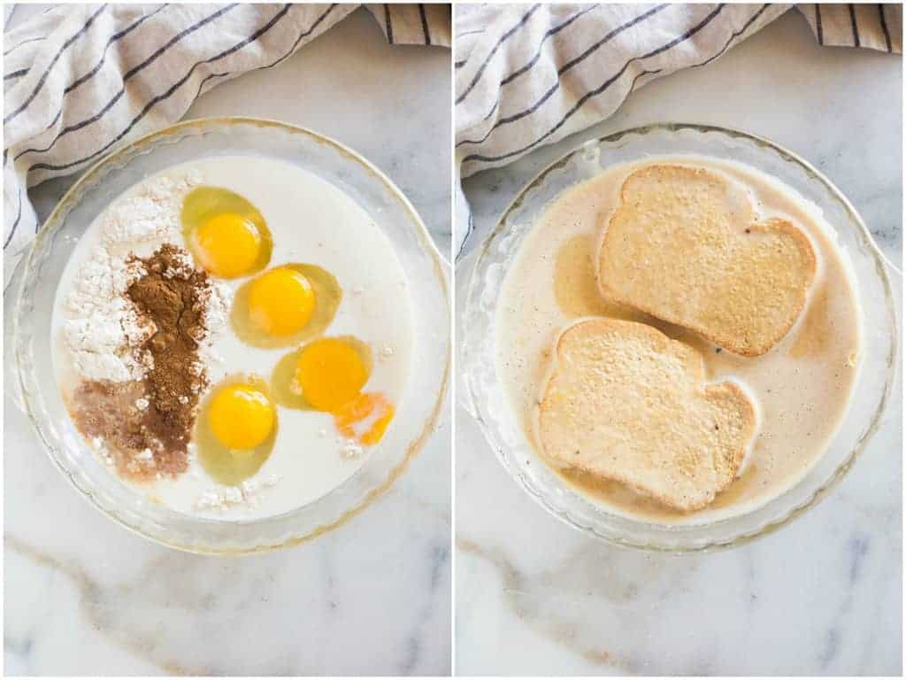 An overhead photo of a glass pie dish with the ingredients to make french toast, including eggs, milk, vanilla, sugar, cinnamon and flour, next to a photo of the mixed mixture with two bread slices soaking in it.
