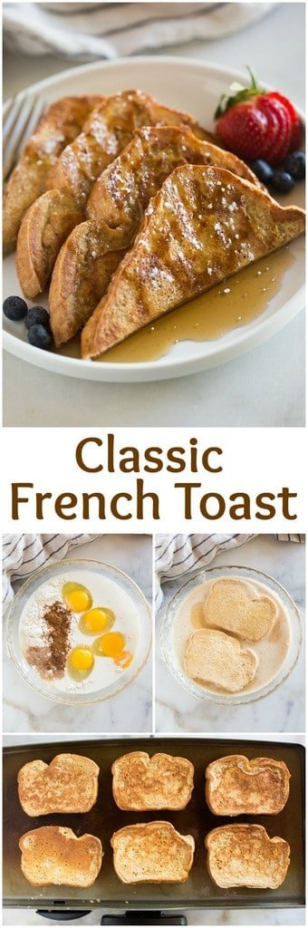 This Classic French Toastrecipe is easy, uses simple pantry ingredients, and has a secret ingredient that makes a thicker batter with cinnamon sugar flavors that really set it apart. One of our family's favorite breakfasts! #recipe #easy #breakfast #simple #frenchtoast #best