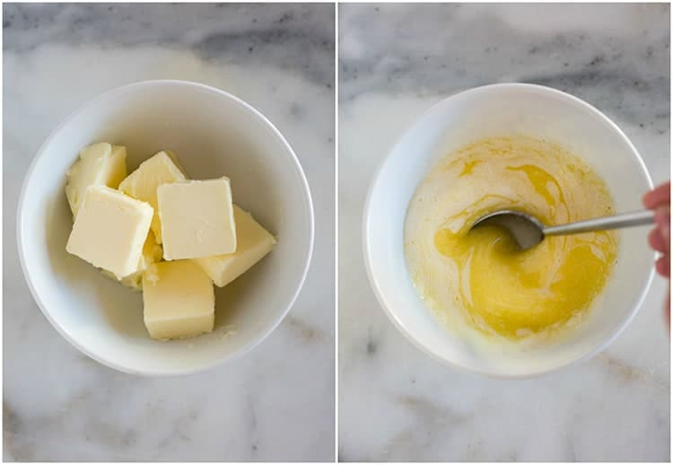 Side by side photos of butter cut into pieces in one white bowl, and then melted in the same white bowl, with a spoon stirring it.