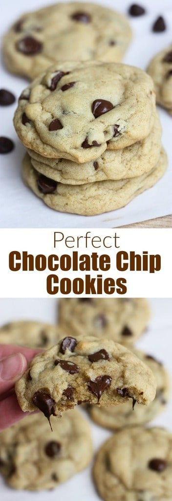 The Perfect Chocolate Chip Cookies have a little crisp to their outer shell but are soft on the inside, and extra chewy. They're easy to make (you don't even need a mixer!), no chilling the dough, and they stay soft for days. This is the perfect chocolate chip cookies recipe you've been searching for! #cookies #chocolatechip #best #easy #chewy #recipe #howtomake