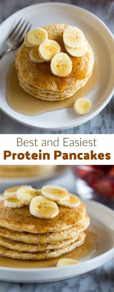These low-carb Protein pancakes are a delicious and healthy recipe thats packed with protein from whole foods including cottage cheese and whole grain oats.  One pancakes has 5 grams of protein and just 100 calories. #lowcarb #proteinpancakes #pancakesrecipe #healthybreakfast #tastesbetterfromscratch.com #healthy #easy