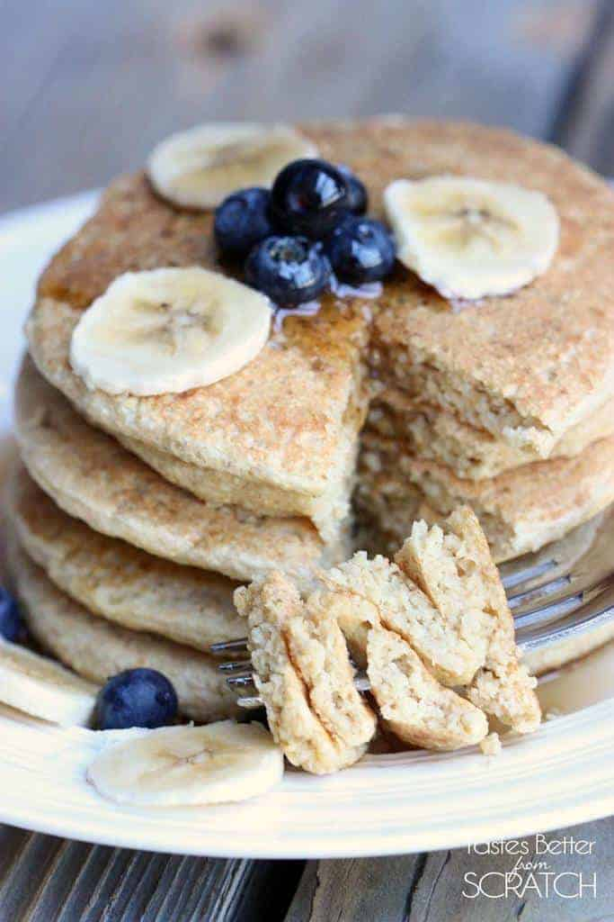 Healthy Protein Pancakes recipe on TastesBetterFromScratch.com