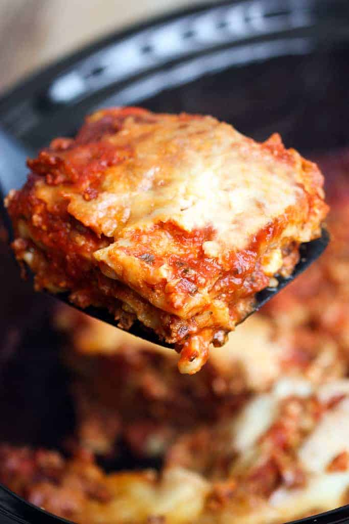 Slow Cooker Lasagna is the BEST and easiest way to make delicious homemade lasagna!