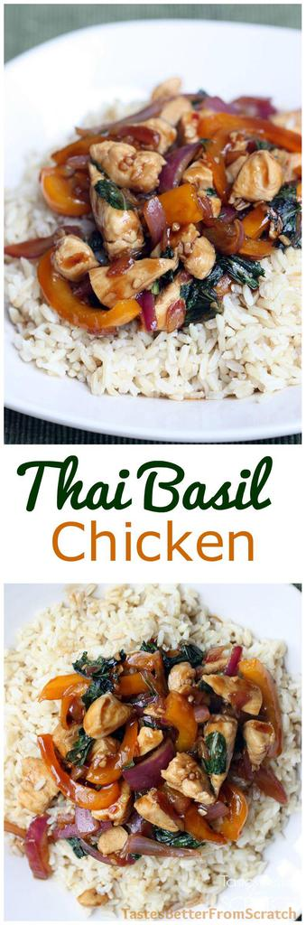 Thai Basil Chicken with basil, bell peppers, and red onion.  This is a simple and healthy dinner that's also a 30-minute meal! | tastesbetterfromscratch.com