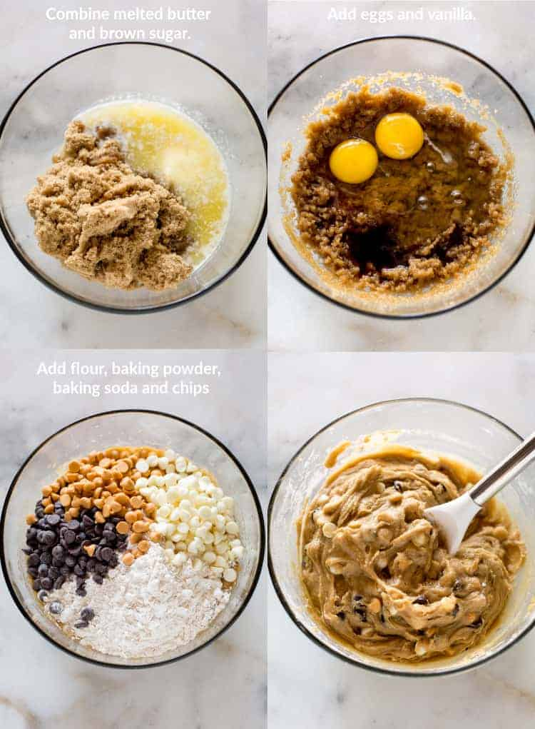 Four process photos for making blondies in a clear glass mixing bowl with brown sugar and melted butter, then two eggs and vanilla, then flour and three types of chocolate chips added, and the final mixed batter.