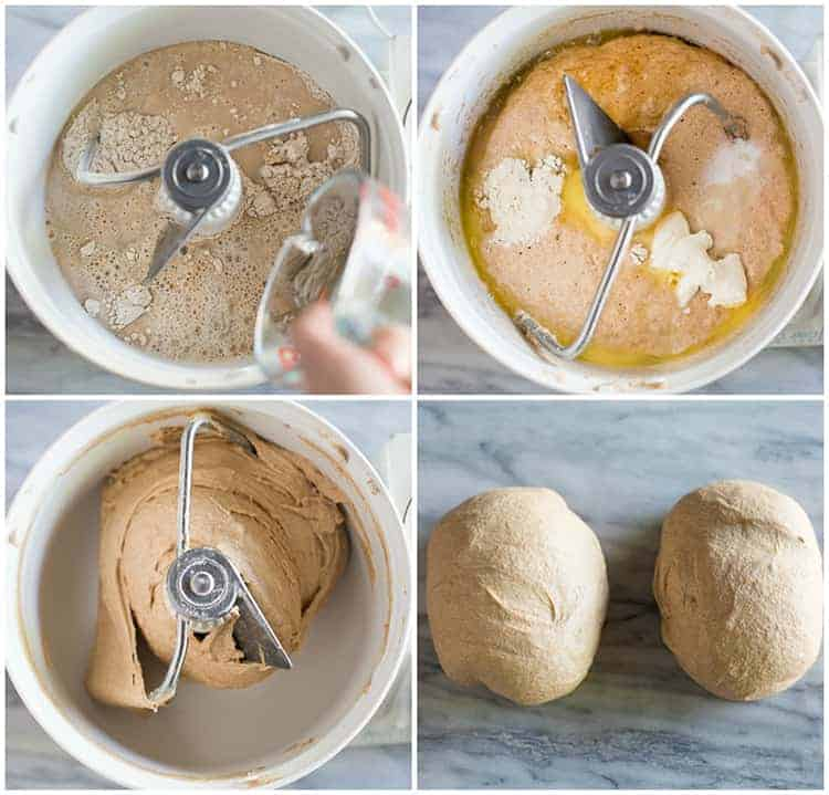 Process photos for making whole wheat bread in a stand mixer and then dividing the dough into two loaves.