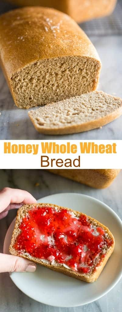 This deliciousHoney Whole Wheat Breadis a healthy wheat bread recipe made with whole grains, honey, and Greek yogurt. It's soft, moist and absolutely delicious!! #wholewheatbread #healthy #homemade #recipe #easy #bread