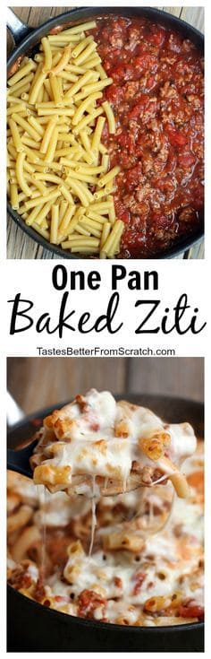 My family LOVES this easy, simple One Pan Baked Ziti recipe. It's as fast and delicious as comfort food gets and ready in less than 30 minutes!  | tastesbetterfromscratch.com  #easyrecipes #comfortfood #pastadish #withitaliansausage