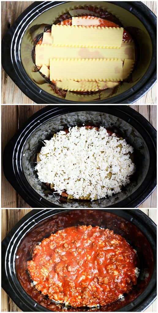 Process for making slow cooker lasagna including layering uncooked noodles, pasta sauce and white sauce into the crock pot.