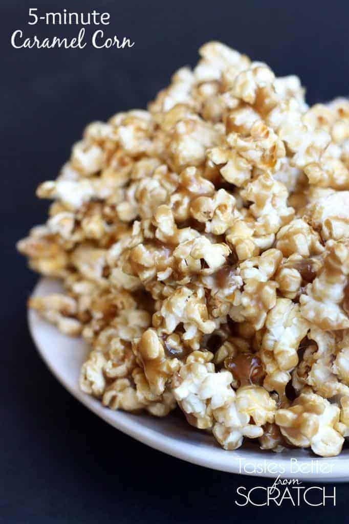 5-Minute Caramel Corn recipe on TastesBetterFromScratch.com