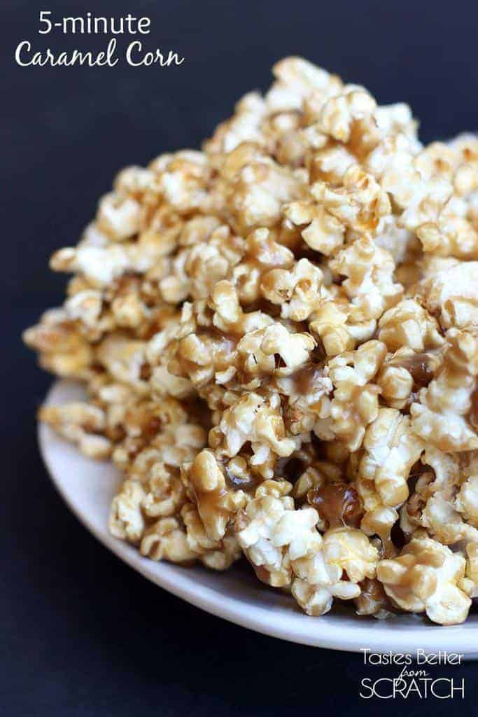 Minute Caramel Corn recipe on TastesBetterFromScratch.com