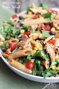 BBQ Chicken Pasta Salad recipe on TastesBetterFromScratch.com