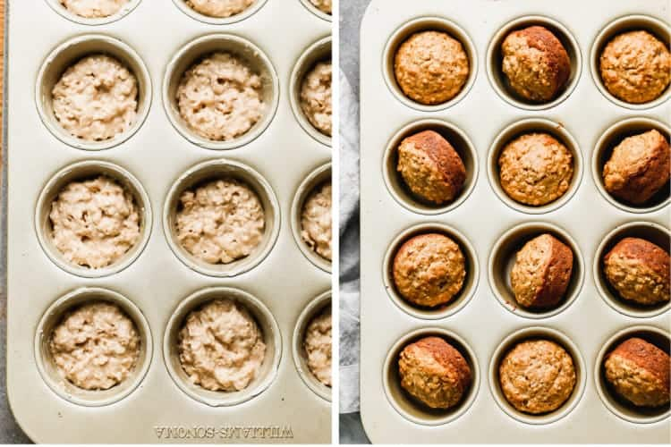 A muffin tin with banana oat muffin batter, next to another photo of the baked muffins in the tin.
