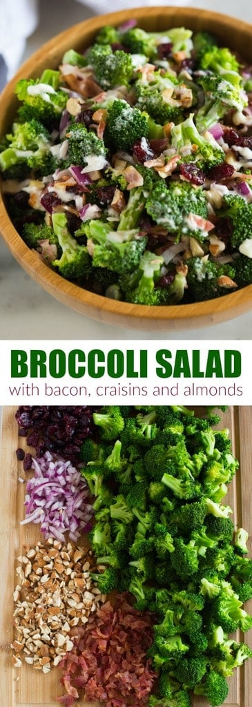 Everyone loves this easy Broccoli Salad recipe made with bacon, almonds, raisins or craisins and onion in a delicious creamy and tangy dressing. Serve it at a potluck or bbq or as a side dish for holiday dinner. #broccoli #salad #healthy #best #easy #bacon #craisins #forabbq #foraparty #sidedish