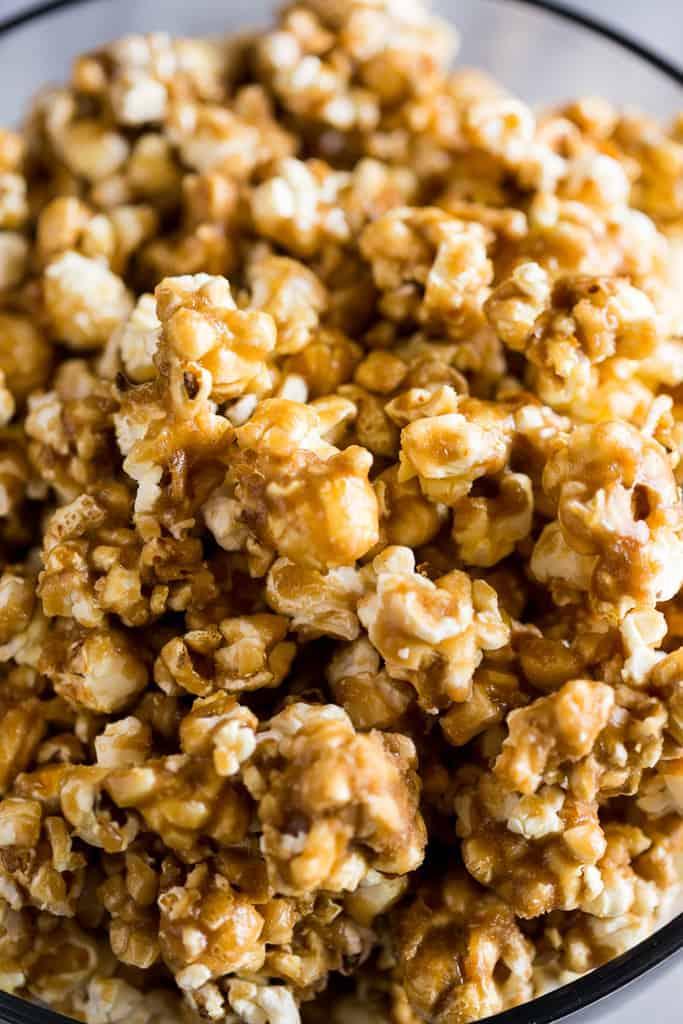 Close-up photo of caramel corn in a bowl.