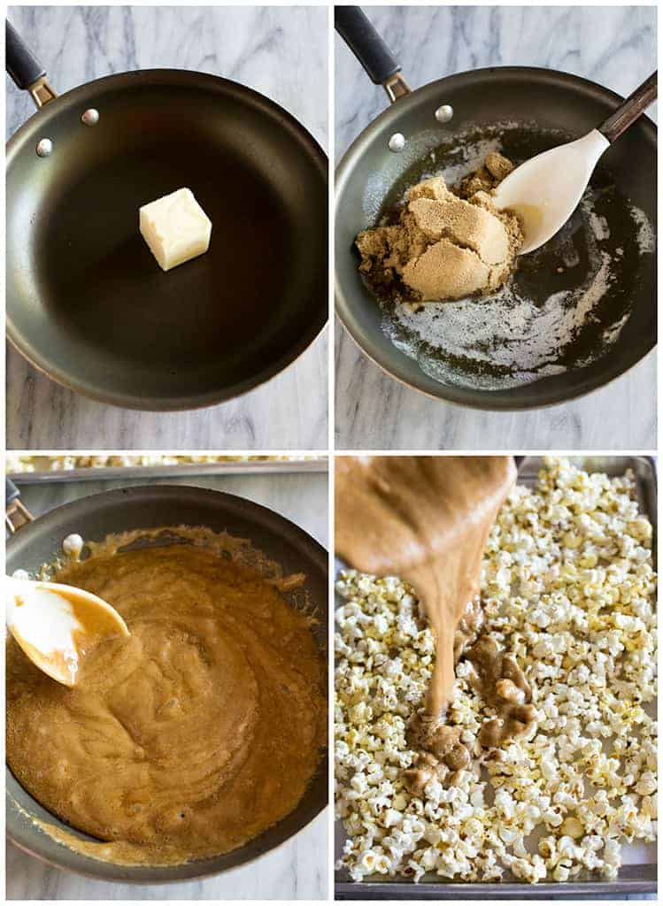 Four process photos for making caramel popcorn with the sauce made in a skillet and then poured over popcorn on a baking sheet.