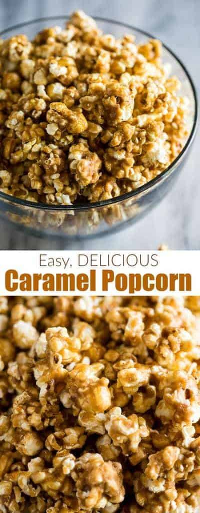 Easy Homemade Caramel Popcornis soft, crunchy, chewy, and everything you hope for in the perfect caramel popcorn recipe.#caramelpopcorn #easy #tastesbetterfromscratch #dessert #best #popcorn #snack #caramel