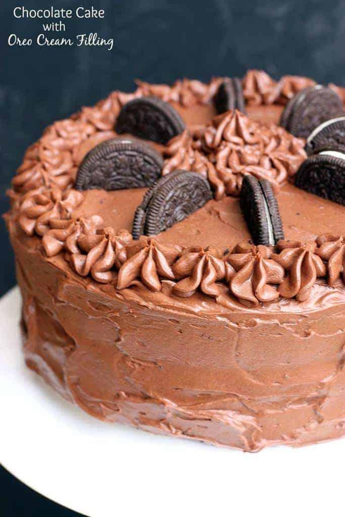 Chocolate Cake with Oreo Cream Filling recipe on TastesBetterFromScratch.com