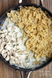 One-Pan Skinny Chicken Alfredo recipe from TastesBetterFromScratch.com