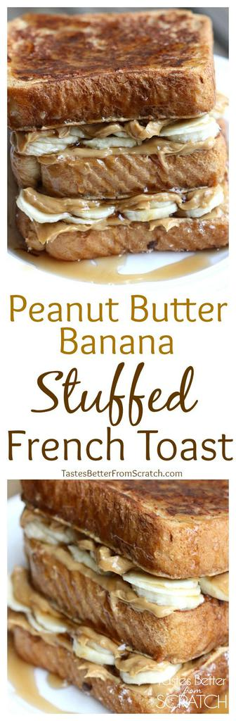 Peanut Butter Banana Stuffed French Toast takes traditional french toast to a whole new level! It's simply three of my favorite things combined! | tastesbetterfromscratch.com