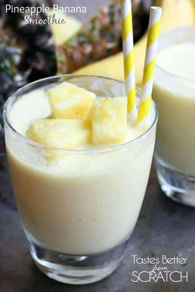 Pineapple Banana Smoothie recipe on TastesBetterFromScratch.com