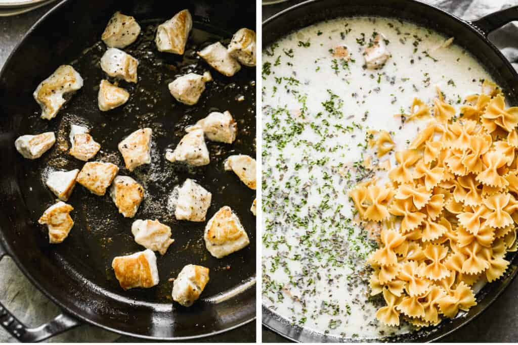 Two process photos of browning chicken in a pan, then milk, spices and pasta added to make healthy chicken alfredo.