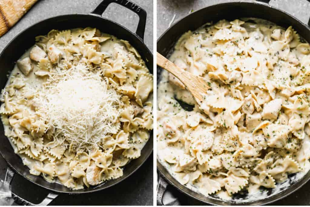 Two process photos for adding shredded parmesan cheese to bowtie noodles and sauce in a skillet.