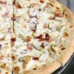 Chicken Alfredo Pizza recipe from TastesBetterFromScratch.com