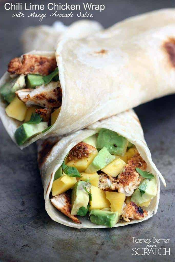 Chili Lime Chicken Wraps with Mango Avocado Salsa | Tastes Better From ...