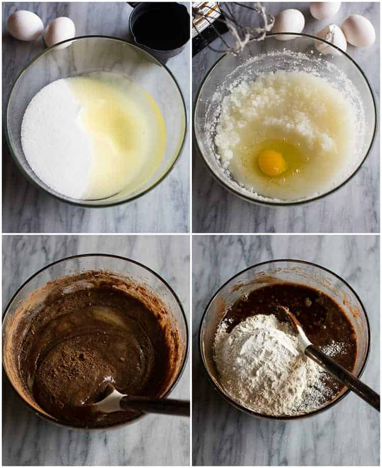 Process photos for making brownies including a clear glass bowl with sugar and oil, an egg mixed in and then cocoa powder and flour added to finish the batter.