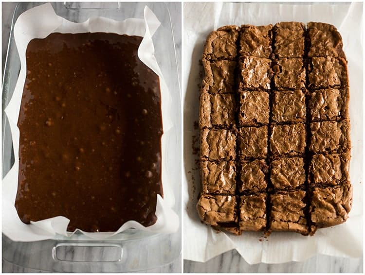 Before and after photos of a 9x13 inch pan of brownies with the batter in the pan and then the baked brownies cut into squares.