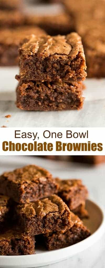 Delicious, thick and chewy Chocolate Browniesmade in just one bowl. Enjoy them plain, with a sprinkle of powdered sugar, or with chocolate frosting on top.! #brownies #homemade #easy #recipe #tastesbetterfromscratch