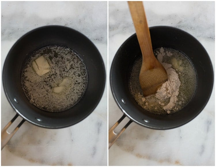 A saucepan with melted butter next to another saucepan with flour added to the butter and a wooden spoon resting in the saucepan.