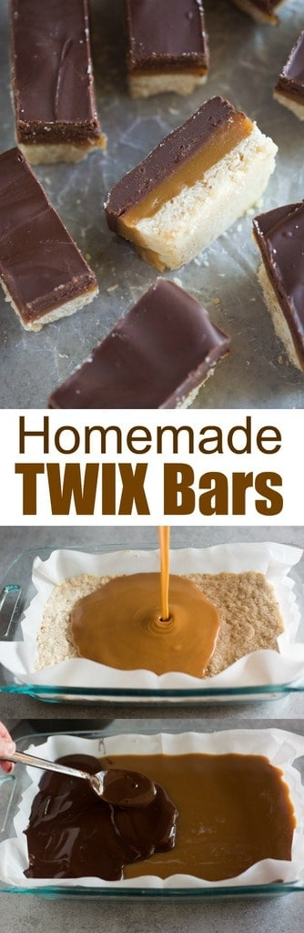 Homemade Twix Bars with layers of shortbread, homemade caramel, and melted chocolate. An irresistible copy-cat recipe of my favorite candy bar! #twix #candy #chocolate #caramel #shortbread #bars #cookies #dessert