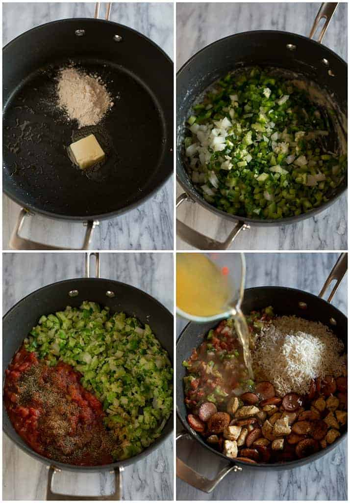 Four process photos for making jambalaya including a photo of butter and onion in a skillet, a photo of chopped veggies added to the pan, a photo of diced tomatoes and spices added to the pan, and a photo of rice, chicken and sausage added to the pan with chicken broth being poured in.