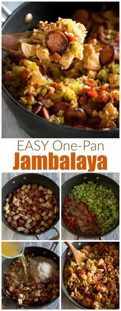 ThisChicken and Sausage Jambalaya dinner is healthy comfort food that is made in just one pan! It's loaded with veggies including celery, bell pepper, onion, diced tomatoes and bold cajun flavors that I know your familywill love. #jambalaya #cajun #creole #onepot #onepan #chicken #sausage #easy #best #comfortfood #healthy #rice #kidfriendly #tastesbetterfromscratch