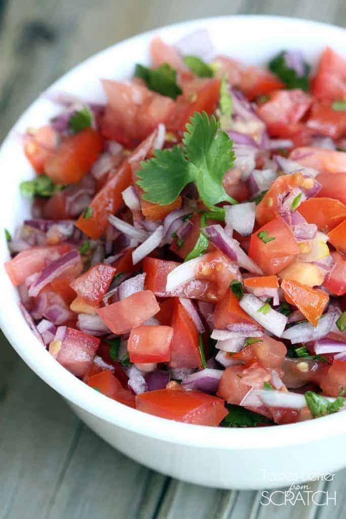 Easy homemade Pico de Gallo recipe from TastesBetterFromScratch.com