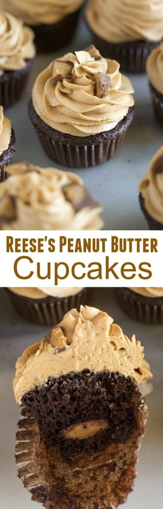 These Reese's Peanut Butter Cupcakes are always a crowd favorite! Chocolate cupcakes with peanut butter frosting and a Reese's chocolate baked in the center.  #easy #cupcakes #chocolate #peanutbutter #reeses #homemade #cakemix #recipe #frosting