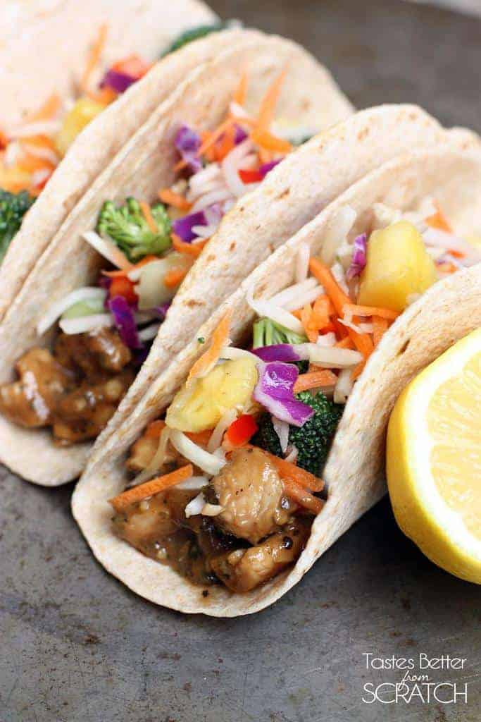 Thai Peanut Chicken Tacos with Pineapple Slaw | Tastes Better From ...
