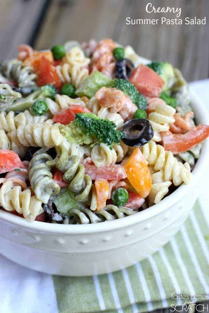 Creamy Summer Pasta Salad from TastesBetterFromScratch.com