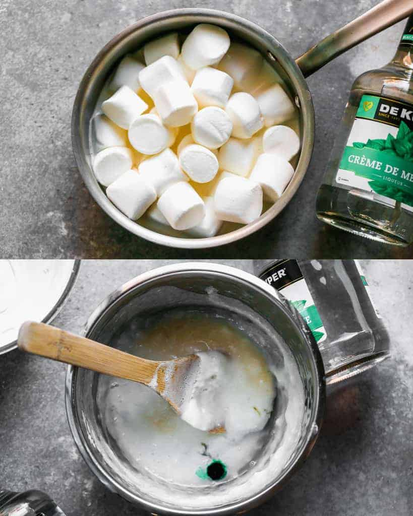 Two process photos of marshmallows in a saucepan, then melted, cooled, and food coloring and liquer added.