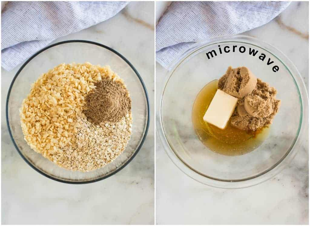 Overhead photo of a glass mixing bowl with oats, rice crispy cereal and flaxseed, next to a another photo of a glass bowl with butter, honey and brown sugar with the word microwave written on the photo.