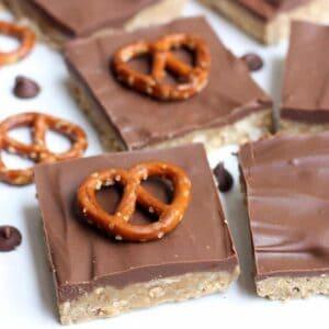 No Bake Peanut Butter Pretzel Bars on TastesBetterFromScratch.com